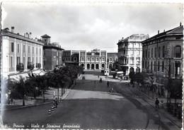 BRESCIA Viale E Stazione Ferroviaria 1951  (Lira Risparmiata Lira Guadagnata CARIPLO) - Brescia