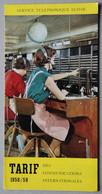 Service Téléphonique Suisse, Tarif Des Communications Internationales 1958-59 - Telephony