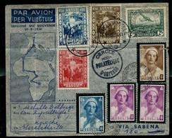 Enveloppe (entière) Affranchissement Mixte (Congo Et Belgique ) Obl: 11/09/36 Par Vol SABENA - Airmail