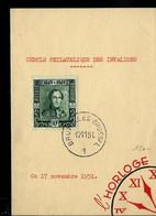Menu Cercle Phila Des Invalides Avec N° 807 Obl. BRUXELLES - BRUSSEL - 1 - Du 17/11/51 - Correo Rural