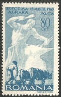 766 Roumanie 1946 Laboureur Boeufs Oxen Plowing MLH * Neuf Légère CH (ROU-146) - Landbouw