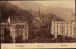 CPA Karlovy Vary Karlsbad Stadt, Englische Kirche, Villa Fasolt - Czech Republic