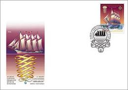 "Latvia.2017.Historical Ships  Of The 19th Century.Four-mast Sailboat ""Abraham"".FDC . - Schiffe"