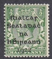 Ireland, Scott #1, Mint Hinged, George V Overprinted, Issued 1922 - Unused Stamps