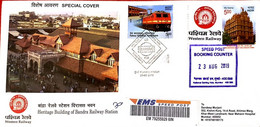 India 2019 Cover First Day Usage - Heritage Building Of Bandra Railway Station, Train - Mumbai (**) Inde Indien - Cartas
