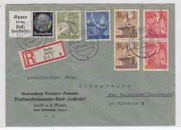Deutsches Reich R-Brief Mit ZD+Satz-Frankatur Nach Bad Salzungen AKs - Covers & Documents