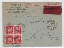 Deutsches Reich Express Brief Der Fa.C.Kahle Porzellan+Glashandlung Apolda Mit VB Reichsadler Frankatur AKs - Covers & Documents