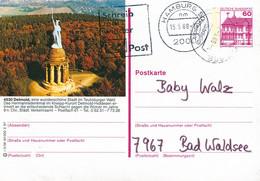 84602) BRD - P 138 - R3/38 - 2000 + Nachträglich Gestempelt ⨀ 4930 Detmold, Hermannsdenkmal, Haftspur - Postales Ilustrados - Usados