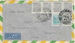1947 Enveloppe Avion Brasil / Brésil / Bande De 4 Timbres 1000 Reis (+ 1) + 400 / Exp Rio De Janeiro - Briefe U. Dokumente