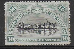 CONGO BELGA - 1896 - IMBARCAZIONE INDIGENA - 40 C. - USATO (YVERT 23 - MICHEL  23) - Sin Clasificación