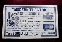 """Ancien Buvard Publicitaire  """"MODERN'ELECTRIC""""  TSF, Postes, Appareils Ménagers...à PARTHENAY (Deux Sèvres) - Autres"""