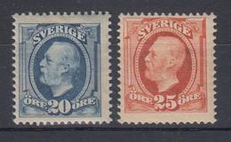 Schweden 1911 Freimarken König Oskar II. Ohne Wz. Mi.-Nr. 55-56 Ungebraucht * - Ohne Zuordnung