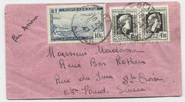 ALGERIE PA 10FR +4FR50 MARIANNE ALGER PAIRE MIGNONNETTE AVION BLIDA 9.1.1947 POUR SUISSE - Storia Postale