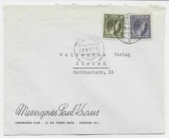 LUXEMBOURG 1FR+2F 1/2C LETTRE COVER LUXEMBURG 2 04.9.1946 TO SUISSE - Brieven En Documenten