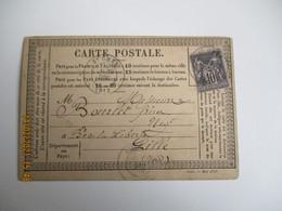 Millesime Mai 1878 , 1221  Carte Postale Precurseur   Timbre Sage 15 C Gris - 1877-1920: Semi-moderne Periode