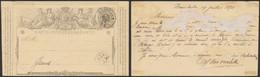 """EP Au Type 5ctm Gris """"carte-correspondance"""" Obl Double Cercle """"Hansbeke"""" + Boite Rurale Privée > Gand / Léger Défaut. - AK [1871-09]"""