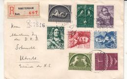 Pays Bas - Lettre Recom De 1945 - Oblit Amsterdam - Exp Vers Utrecht - - Storia Postale