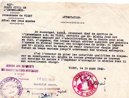"""Document -      """"  Attestation - Cachet:  Service D'Etat à La Guerre """"- VICHY - - Documents"""