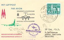 Leipzig Helsinki 1979 - Tupolev 134 Interflug - First Flight Erstflug 1er Vol - Frühjahrmesse - Cartas