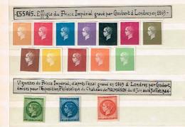 Essais. Effigie Du Prince Impérial Groubert  Londres 1869 + Vignettes émises Château Malmaison 1944. - Andere