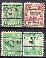 USA Precancel Vorausentwertung Preo, Locals Wisconsin, West De Peere 713, Diff. Perf. 11x10 1/2 - Voorafgestempeld
