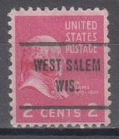 USA Precancel Vorausentwertung Preo, Locals Wisconsin, West Salem 713 - Voorafgestempeld