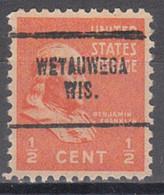 USA Precancel Vorausentwertung Preo, Locals Wisconsin, Weyauwega 704 - Voorafgestempeld