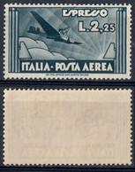 REGNO D'ITALIA - 1933 - ESPRESSO AEREO DA L. 2,25 - CATALOGO SASSONE NUMERO A44 - NUOVO MNH ** - Airmail