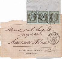 Yvert 19 Olive    Napo.III Série De Trois Sur Fragment Cote 165.00 Bel état - 1849-1876: Periodo Classico