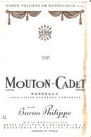 ETIQUETTE MOUTON CADET 1985 JEROBOAM BARON PHILIPPE DE ROTHSCHILD 3 LITRES 17.5X12 CM - Sin Clasificación