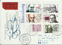 """DDR Brief """"Eilsendung Expres"""" Mosel 1989. Mi 3230#3234 """"Famous People"""". Ankunftsstempel. See Scans. - Storia Postale"""