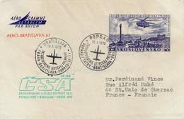 Poprad Bratislava Praha 1970 - CSA -  1er Vol Flight Erstflug - Aérogramme Entier Ganzsache Stationery - Cartas