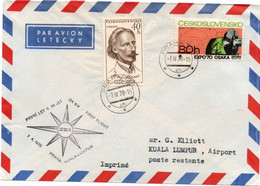 Praha Kuala Lumpur 1970 - CSA - 1er Vol Flight Erstflug - Prague - Malaisie Malaysia - Cartas