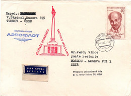 Bratislava Moskva 1970 - Aeroflot SU 086 - 25 Jahre 1er Vol Flight Erstflug - Moscou Moskau - Cartas