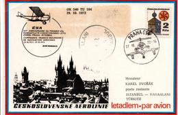 Paris Praha Istanbul 1972 - CSA - 50 Ans 1er Vol Flight Erstflug - Compagnie Franco-Roumaine De Navigation - Cartas