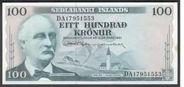 Iceland 100 Kronur 1961 P44a  Signature: D. Olafsson & J. Nordal  AUNC - Iceland