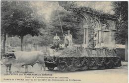 33 GIRONDE BORDEAUX FETE VENDANGES 1909  CHAR LIBOURNE SAINT EMILION  ATTELAGE BEAU PLAN  ANIMATION A  VOIR - Bordeaux