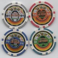 Lot De 4 Jetons De Fantaisie : Royal Straight Flush To Las Vegas Nevada $1 $5 $10 $25 - Casino