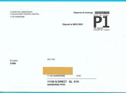 Vignette P1 La Poste Dispensé Timbrage Narbonne PPDC - Non Classés