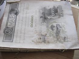 CATALOGUE MALICET ET BLIN - AUBERVILLIERS -  PIECES DETACHEES POUR AUTOMOBILE - 1910 - Voir état : Manque La Couverture - Cars