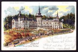 1904 Gelaufene Steinmann Litho: Zürich, Grand Hotel Dolder, Mit Tram. Rückseitig Leicht Fleckig Und Stabs-Stempel - ZH Zürich