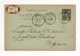 !!! ENTIER POSTAL TYPE SAGE AVEC ETIQUETTE - Standard Postcards & Stamped On Demand (before 1995)