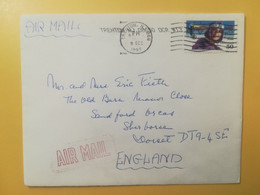 1992 BUSTA  STATI UNITI UNITED STATES U.S.A. AIR MAIL BOLLO AVIATON OBLITERE' TRENTON POR ENGLAND - 3c. 1961-... Cartas