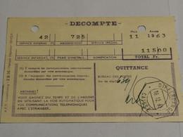 Quittance Taxes Téléphoniques, Cachet Differdange 1963 - Briefe U. Dokumente