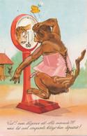 Singe  Guenon Montant Sur La Balance . Surpoids . Corset  Humour . Art Card . Monkey - Singes