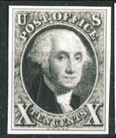 1851 US N. 2 C. 10 Nero (washington) Catalogo  $13,500 Bella Riproduzione - Ungebraucht