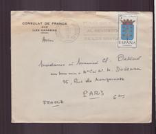 """Espagne, Enveloppe à En-tête """" Consulat De France Aux îles Canaries """" De 1963 De Santa Cruz Pour Paris - 1961-70 Cartas"""