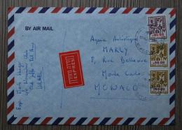 Lettre Express 1984 - D'Israël Pour Monaco - Affranchie Avec 3 Timbres Poste D'Israël - Cartas