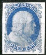 1851 US N. 3, Cent.1  Azzurro (Franklin) Catalogo $ 4500 Bella Riproduzione - Ungebraucht