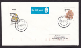Namibia: Airmail Cover To Canada, 1991, 2 Stamps, Mineral, Ore, Rare Cancel Karibib, Air Label (traces Of Use) - Namibia (1990- ...)
